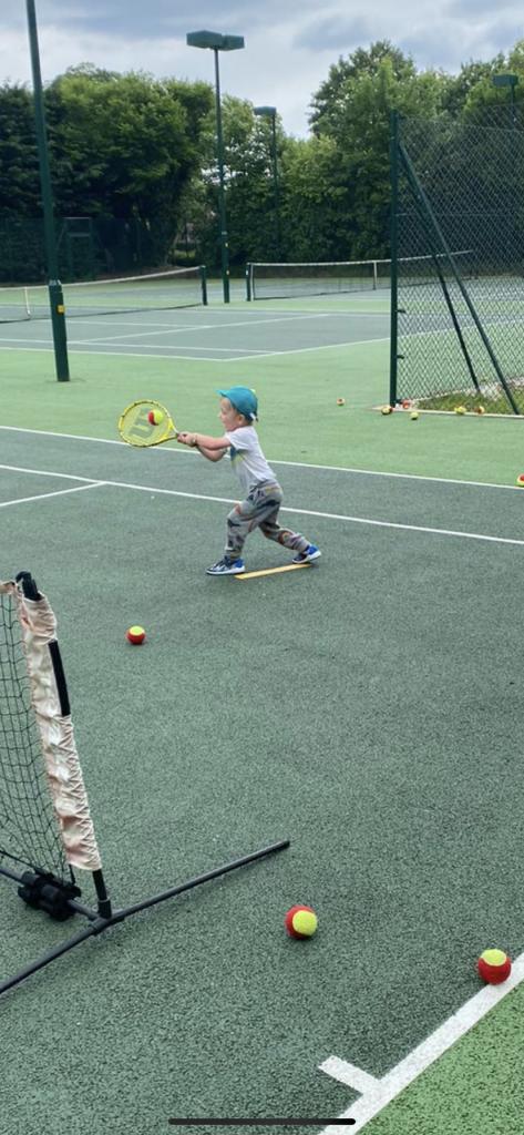 children's tennis lesson